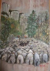 Peinture sur meuble de la transhumance