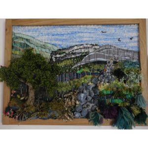 tableau tissage en relief,sur cadre de bois 80x80cm