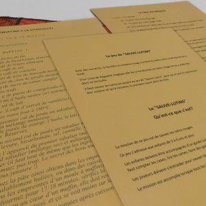 Ce sont les textes explicatifs du jeu, la carte de mission et la recette des muffins à la citrouille.